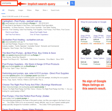 "Why is my business not showing on Google when I search the word ""pool pump"""